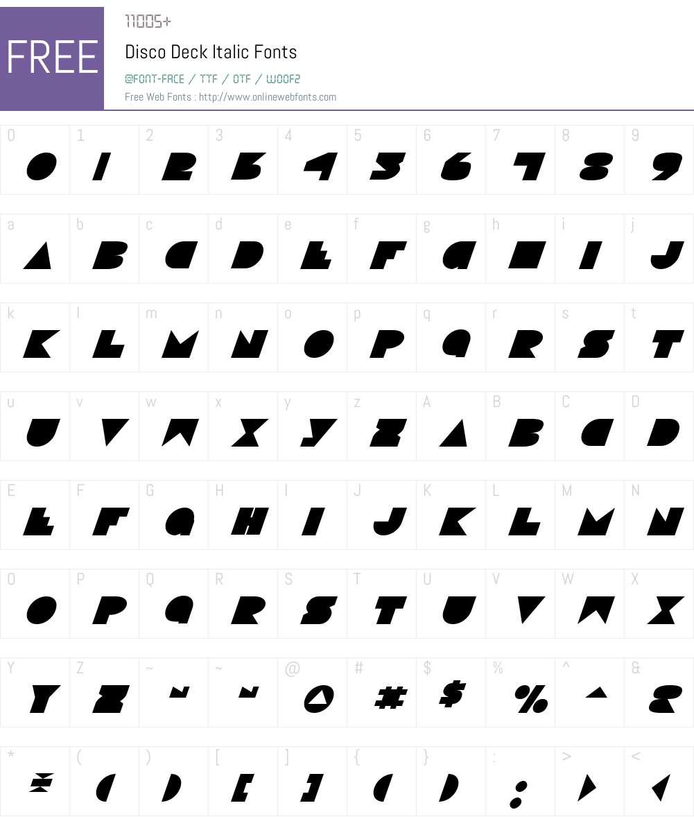 Disco Deck Italic Font Screenshots