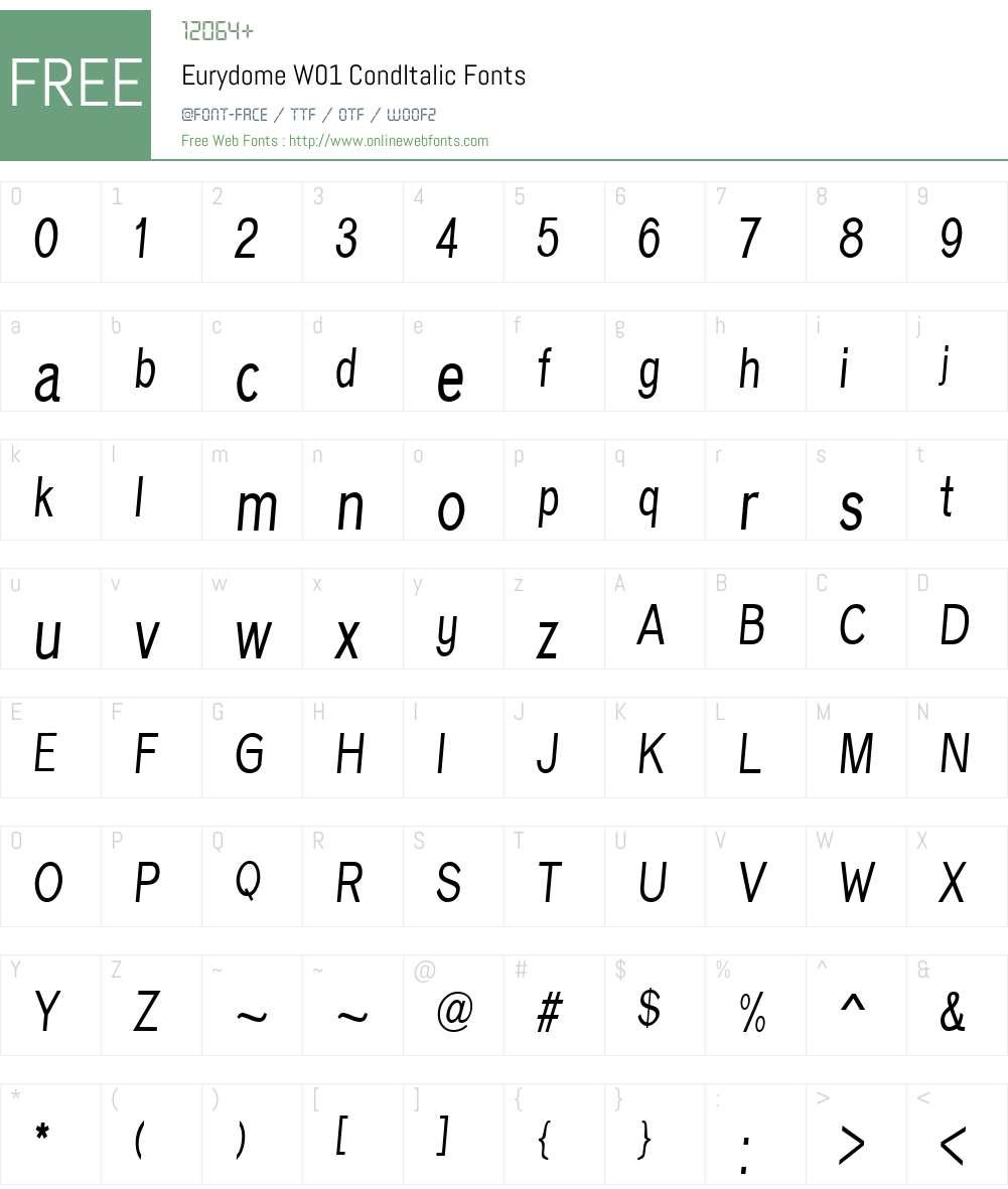 EurydomeW01-CondItalic Font Screenshots