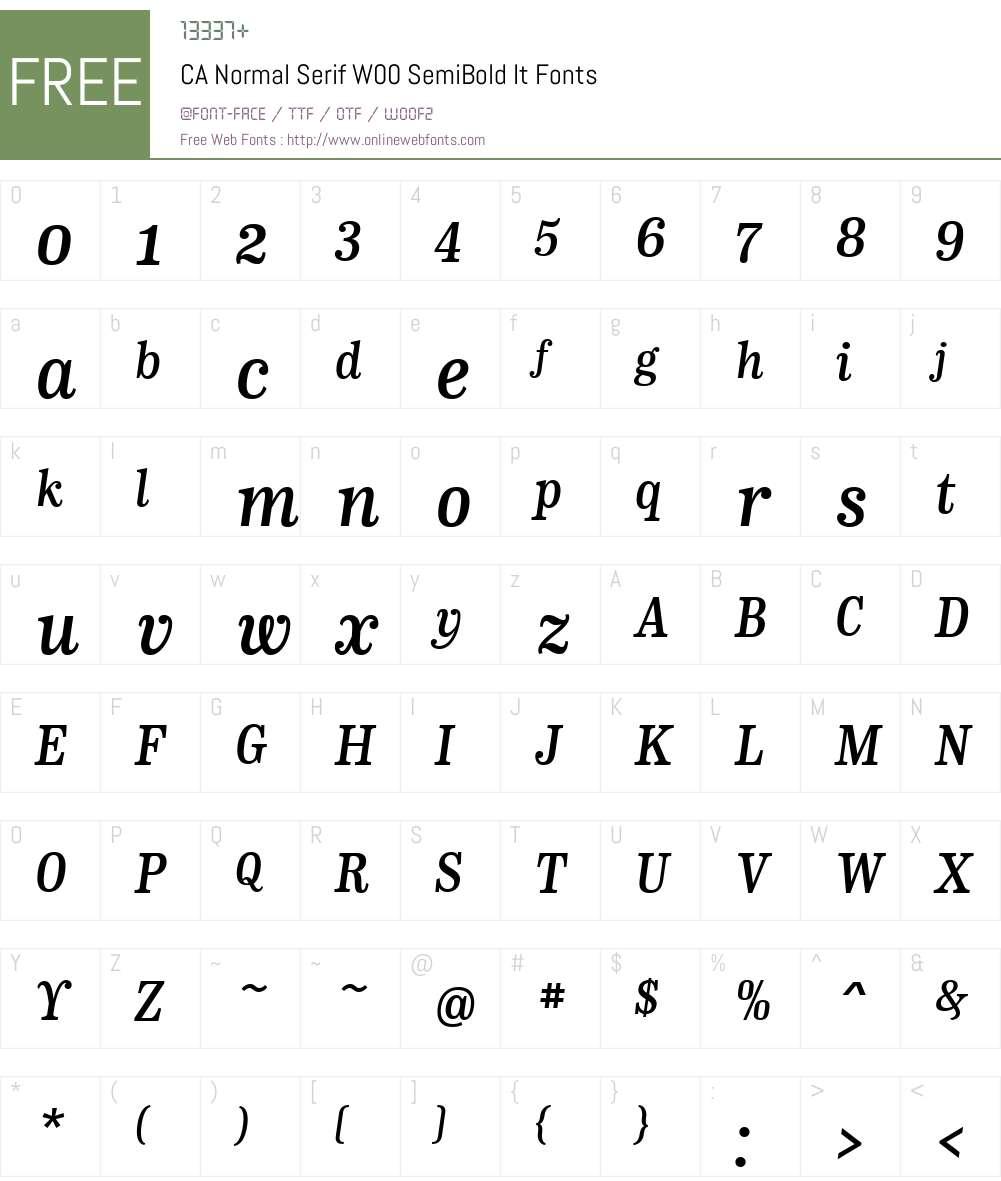 CANormalSerifW00-SemiBoldIt Font Screenshots