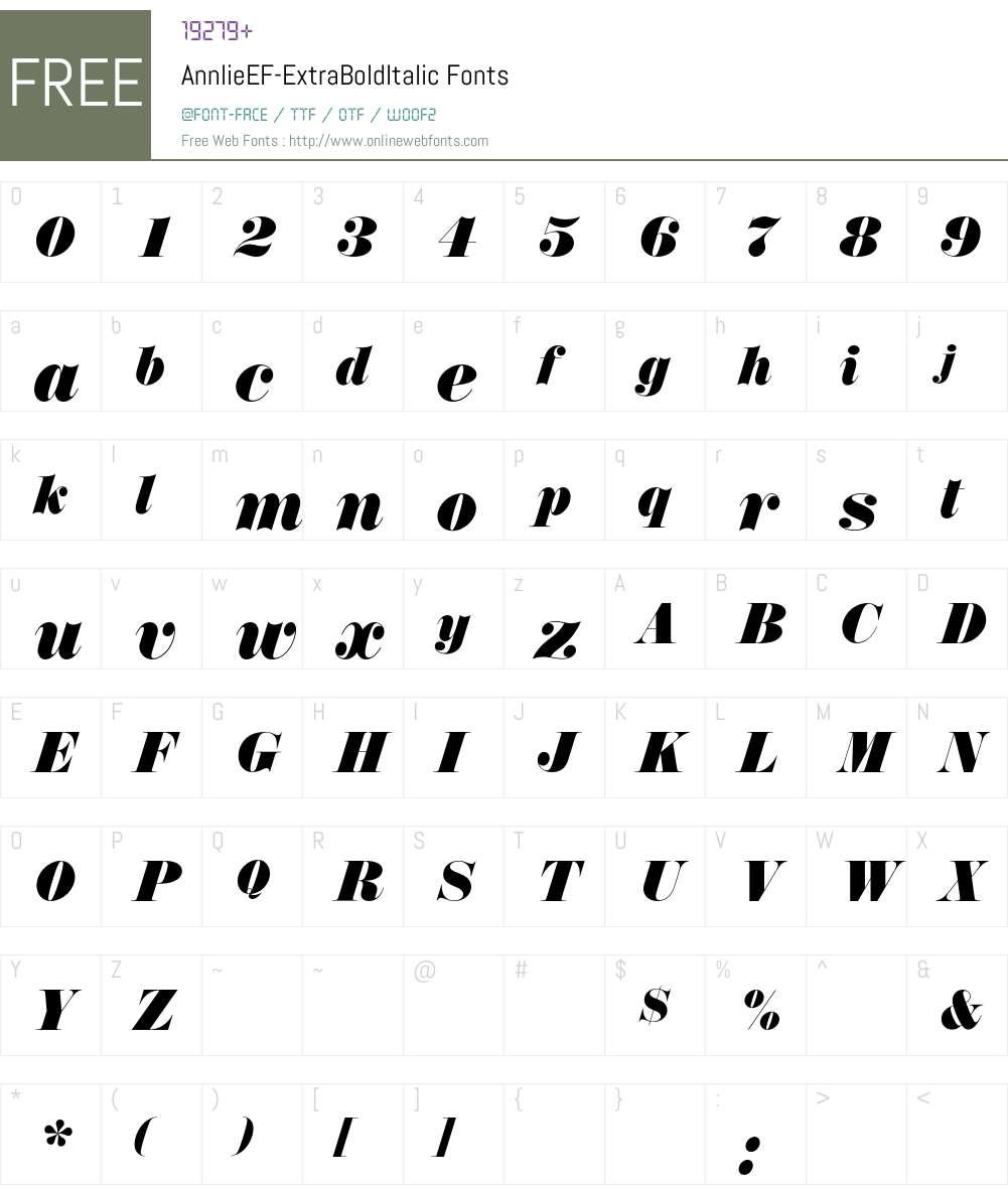 AnnlieEF-ExtraBoldItalic Font Screenshots