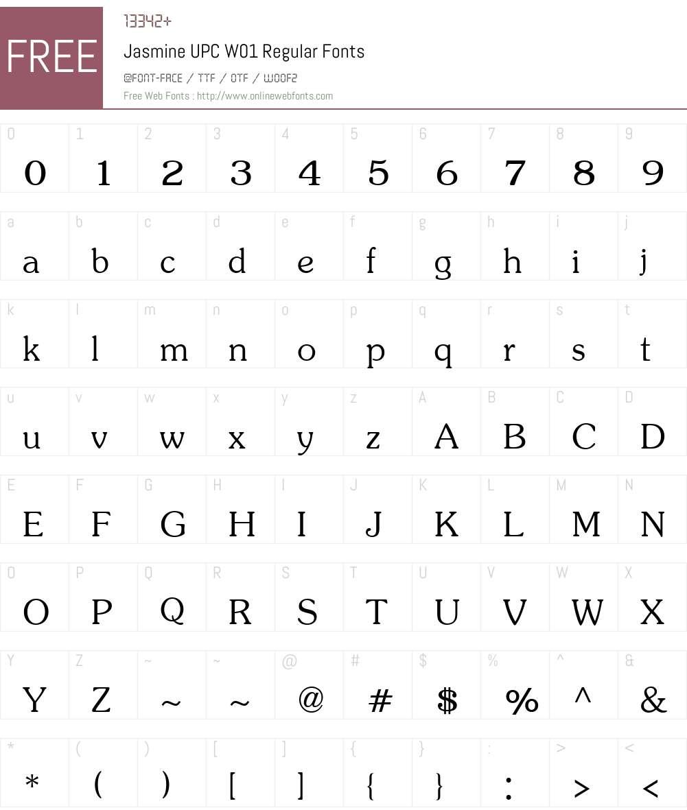 JasmineUPCW01-Regular Font Screenshots