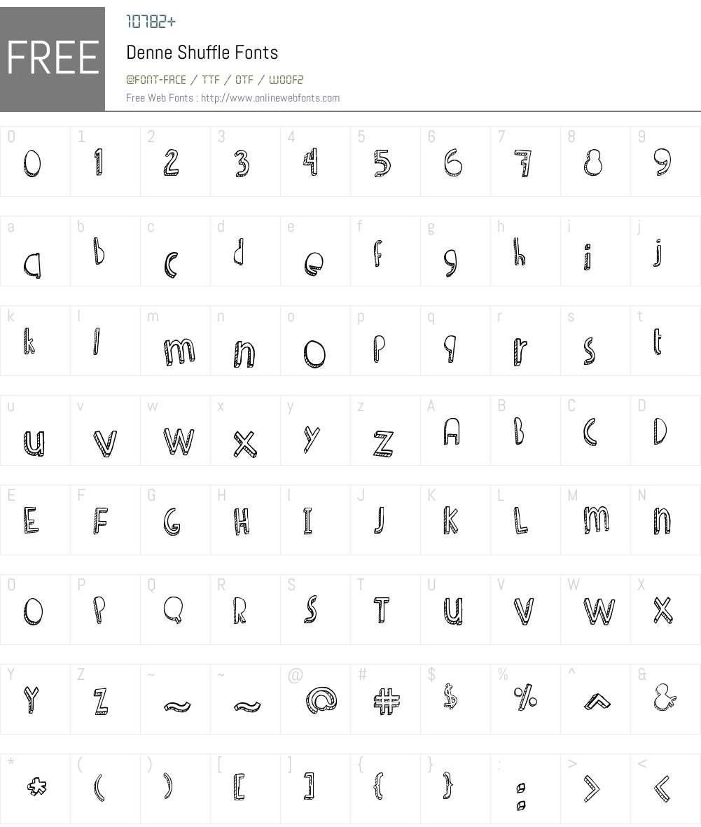 Denne Shuffle Font Screenshots