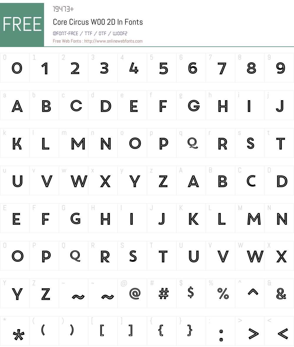 CoreCircusW00-2DIn Font Screenshots