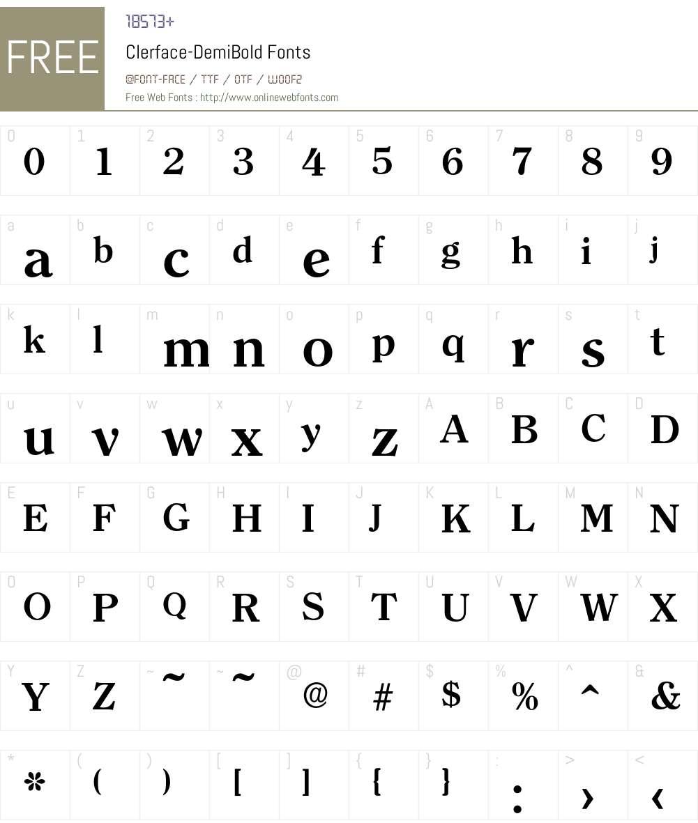 Clerface-DemiBold Font Screenshots
