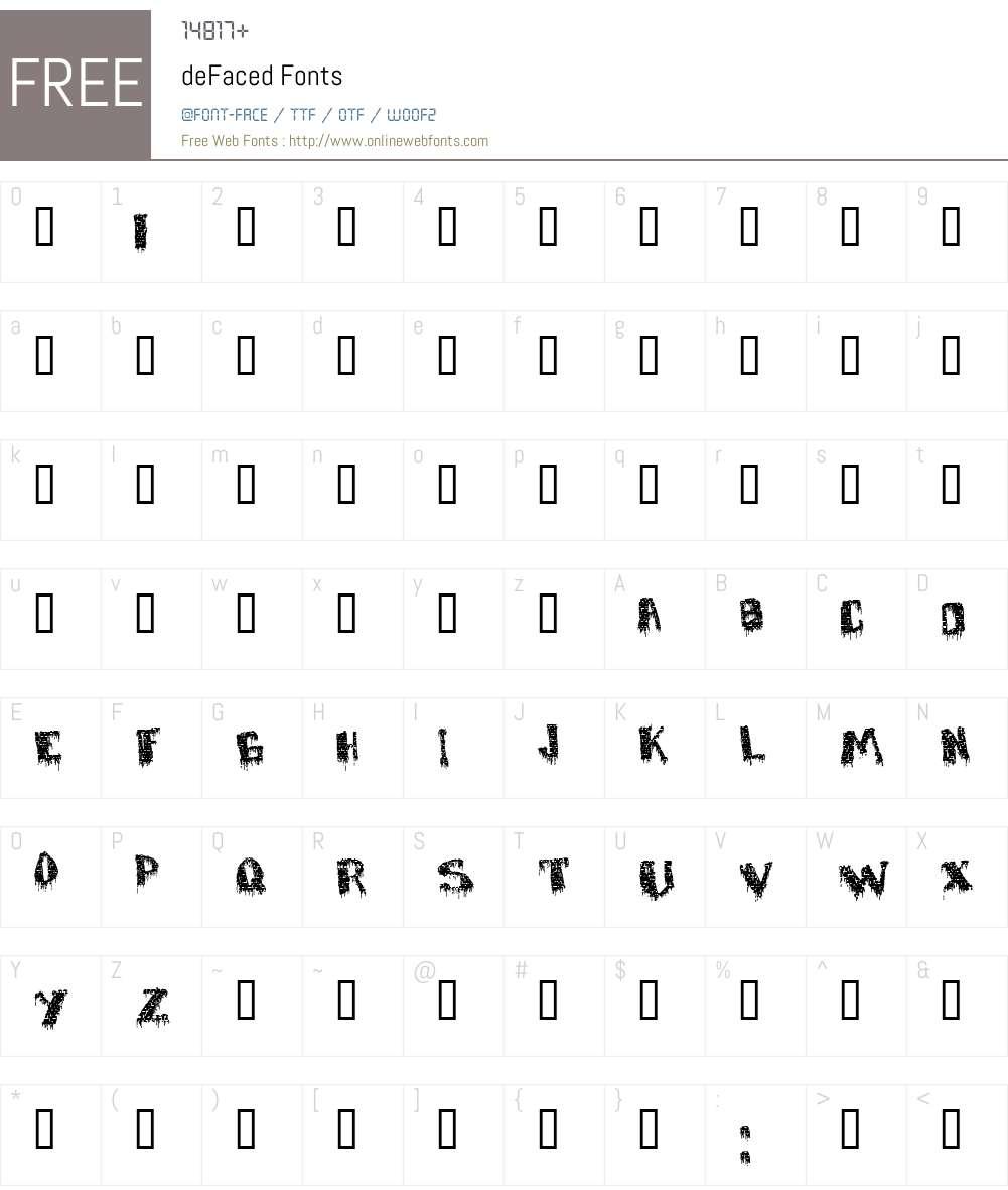 deFaced Font Screenshots