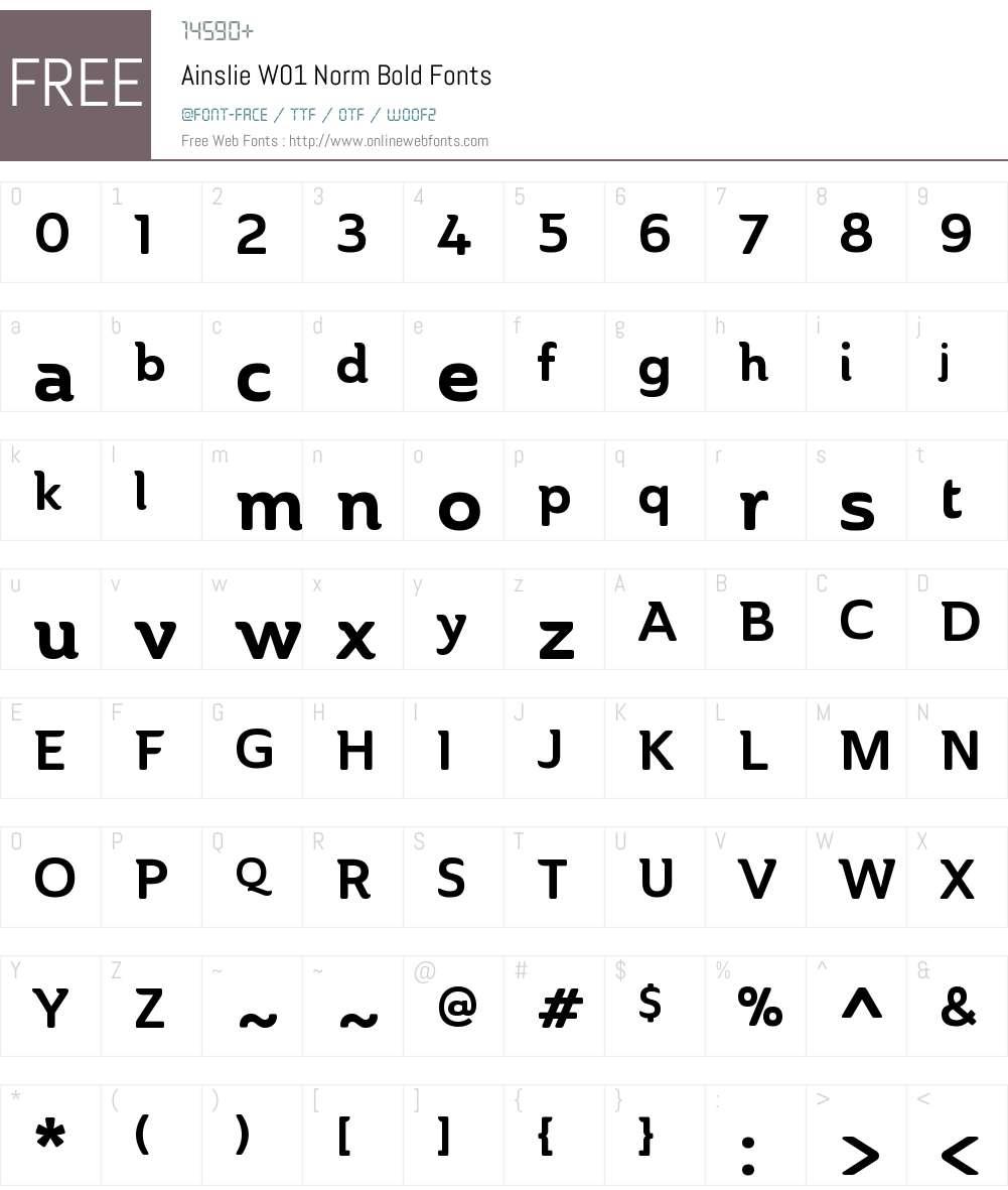 AinslieW01-NormBold Font Screenshots