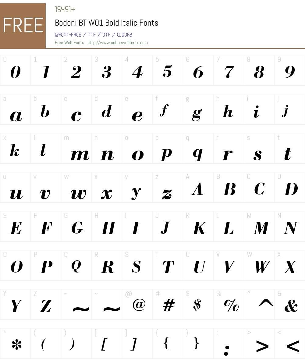 BodoniBTW01-BoldItalic Font Screenshots