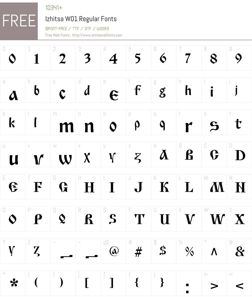 IzhitsaW01-Regular Font Screenshots