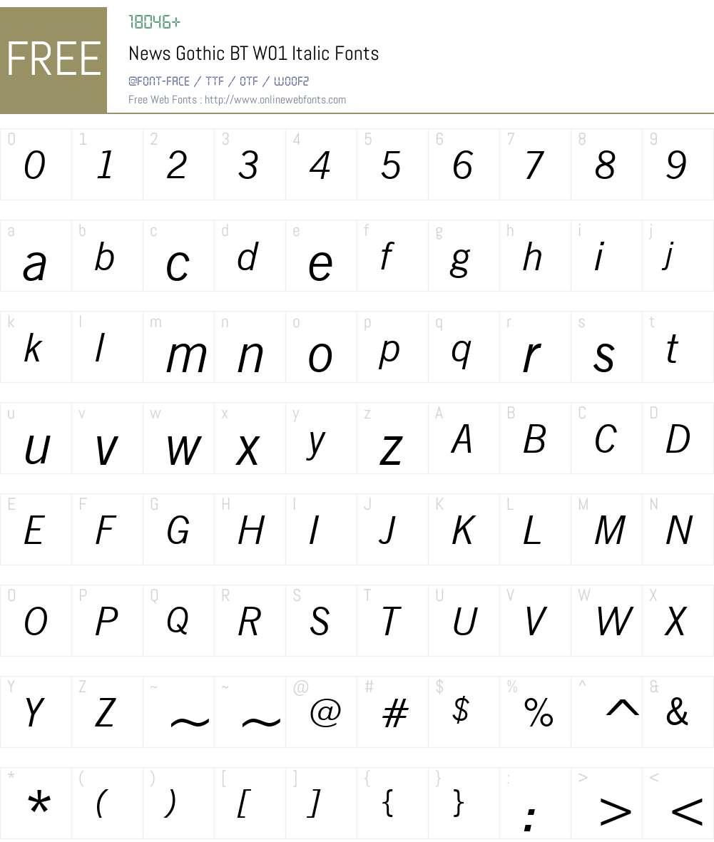 NewsGothicBTW01-Italic Font Screenshots