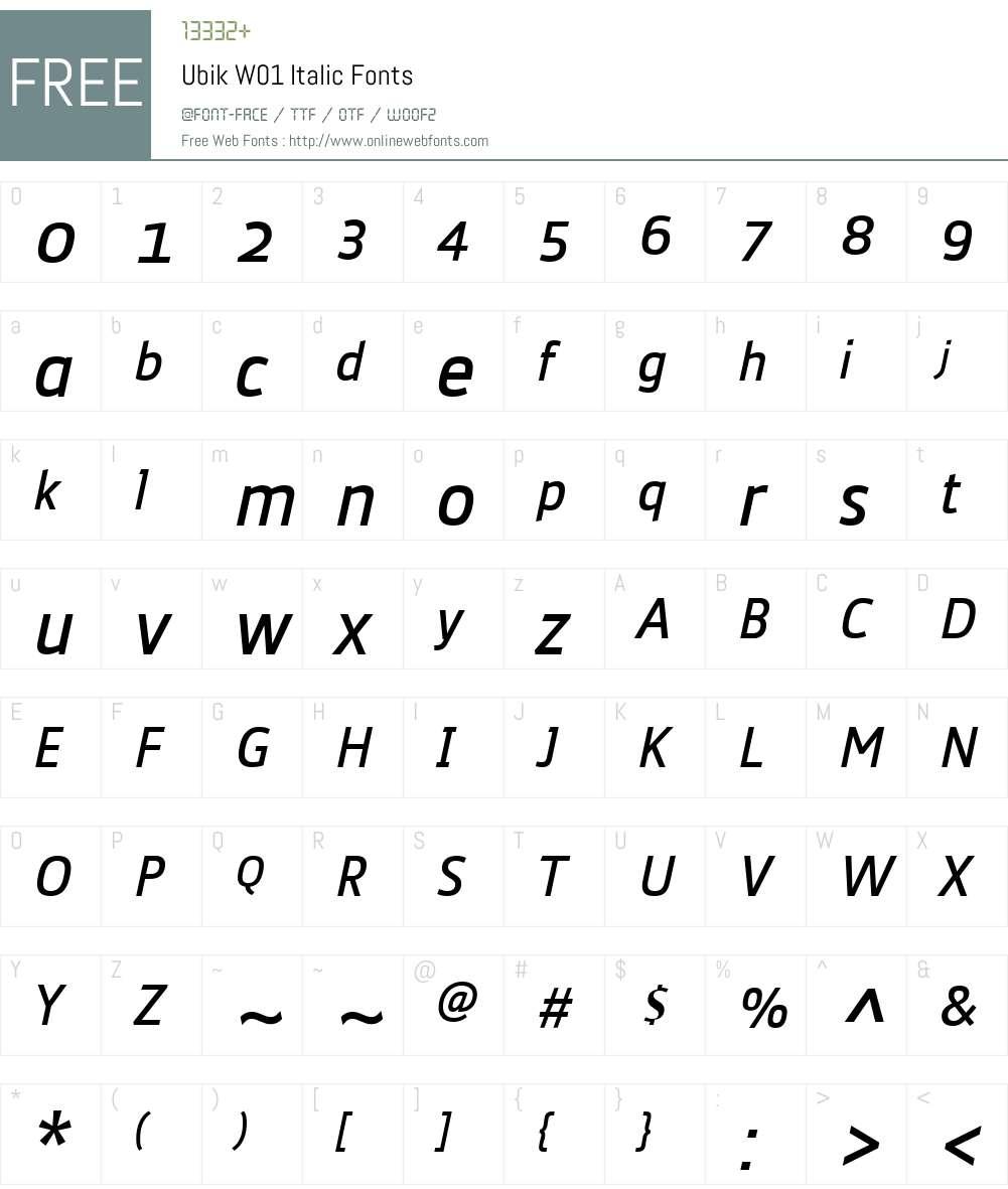 UbikW01-Italic Font Screenshots