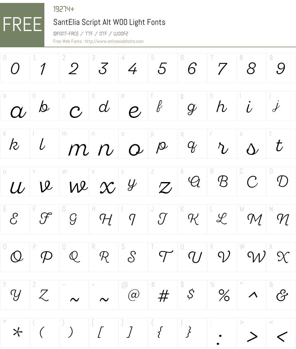 SantEliaScriptAltW00-Light Font Screenshots