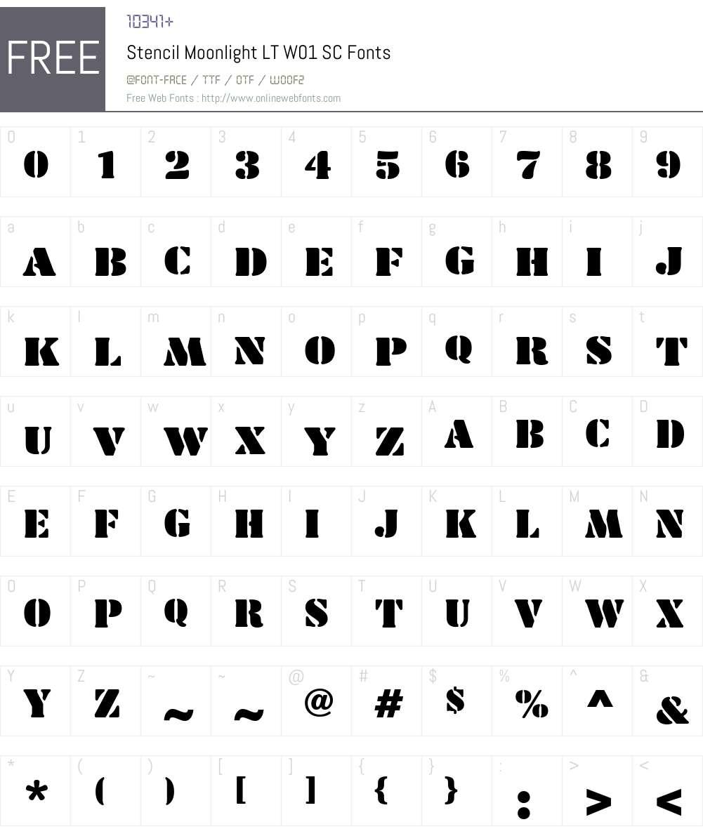 StencilMoonlightLTW01-SC Font Screenshots