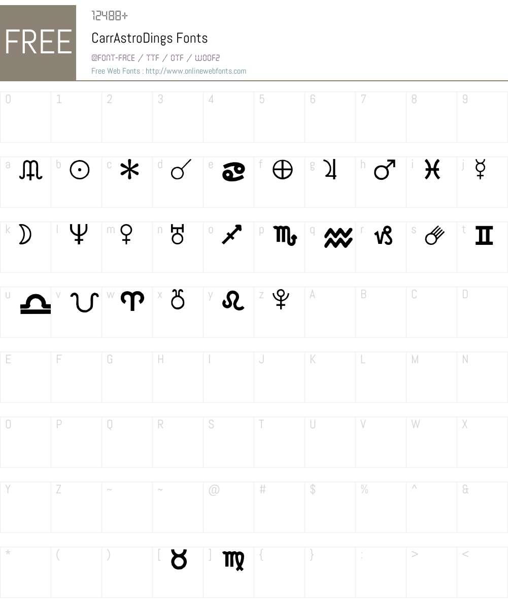CarrAstroDings Font Screenshots