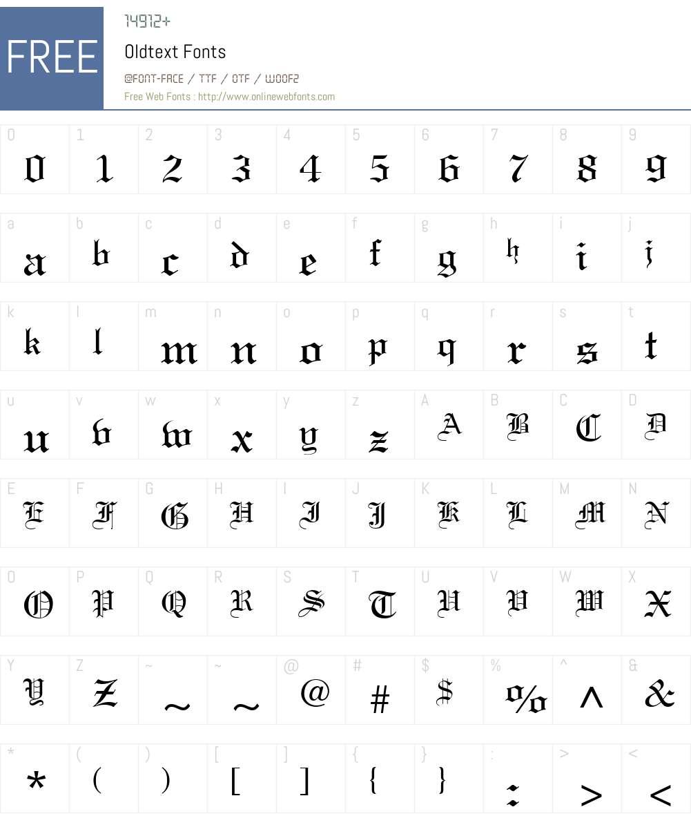 Oldtext Font Screenshots
