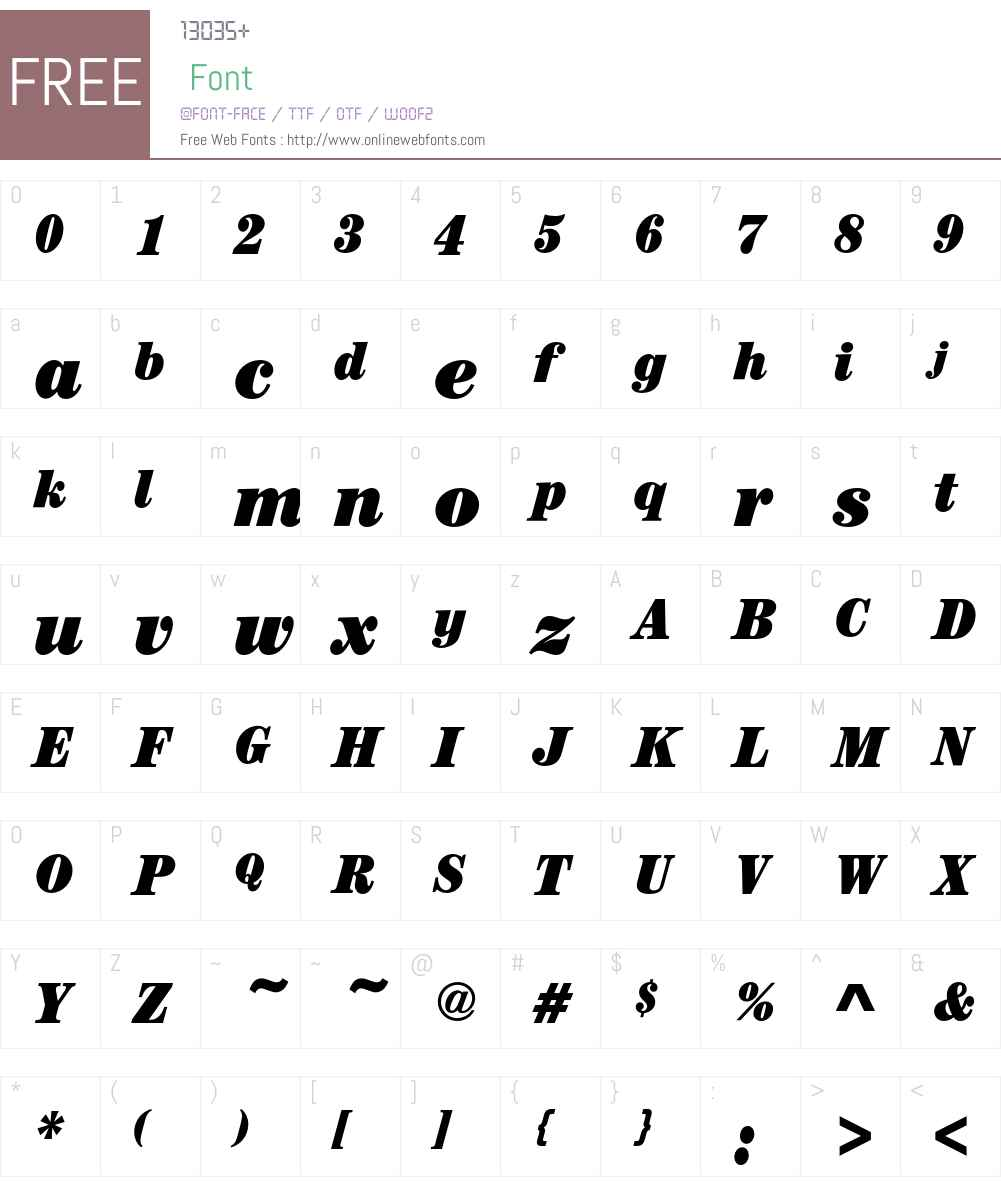 CenturyEF-UltraCondItalic Font Screenshots