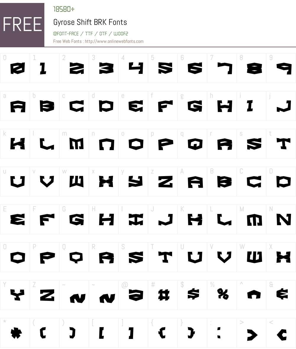 Gyrose Shift BRK Font Screenshots