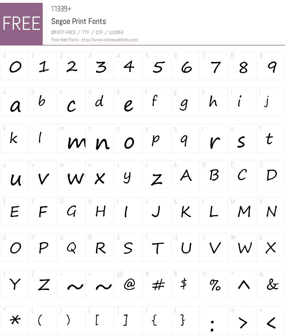Segoe Print Font Screenshots