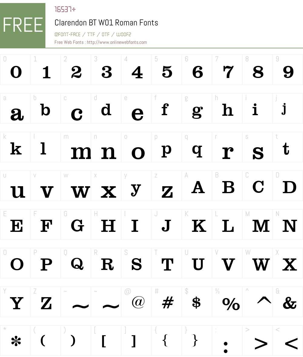 ClarendonBTW01-Roman Font Screenshots