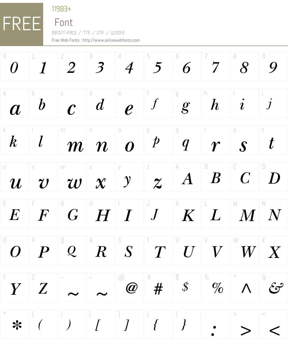 ITC New Baskerville Std Font Screenshots