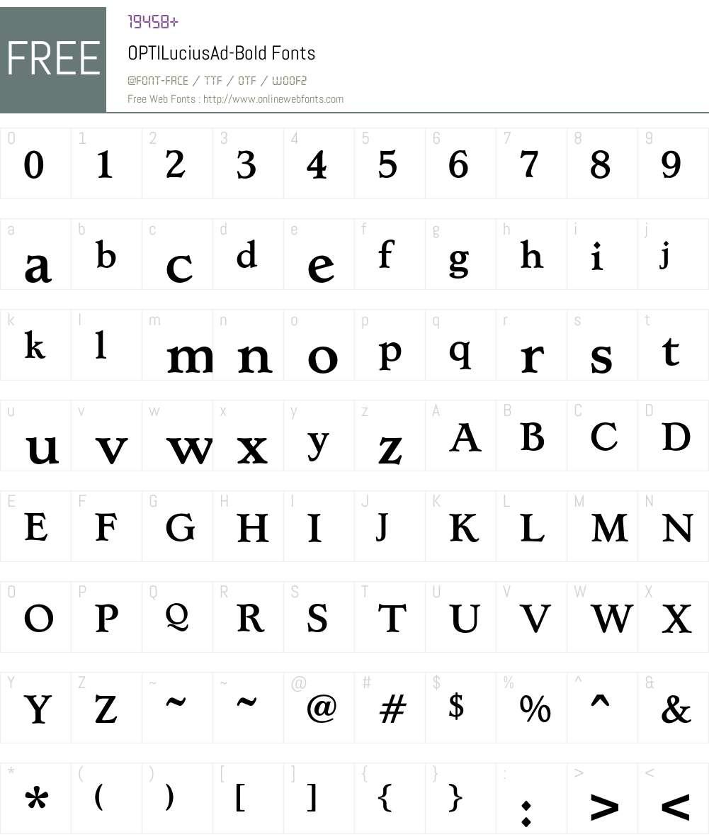 OPTILuciusAd Font Screenshots