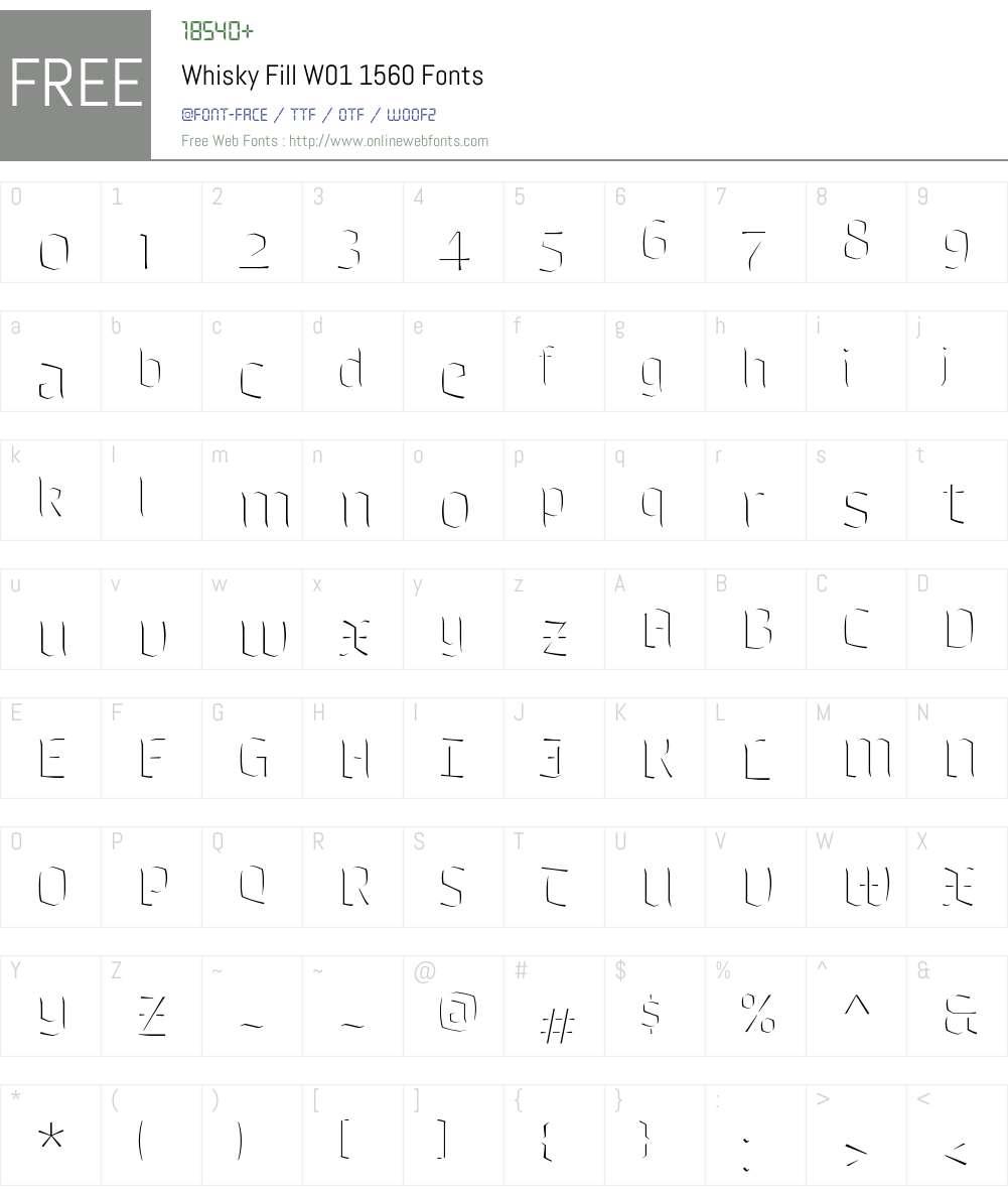 WhiskyFillW01-1560 Font Screenshots