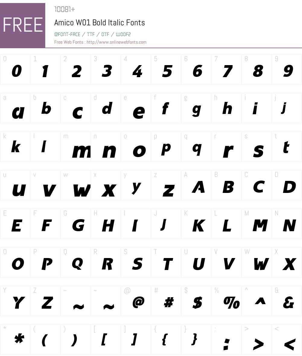 AmicoW01-BoldItalic Font Screenshots