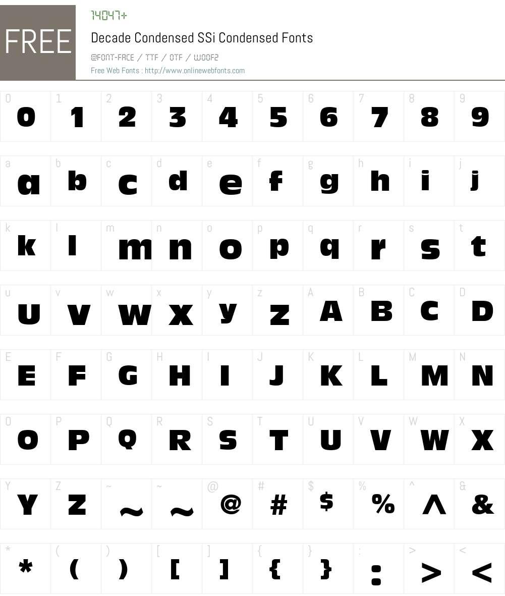 Decade Condensed SSi Font Screenshots