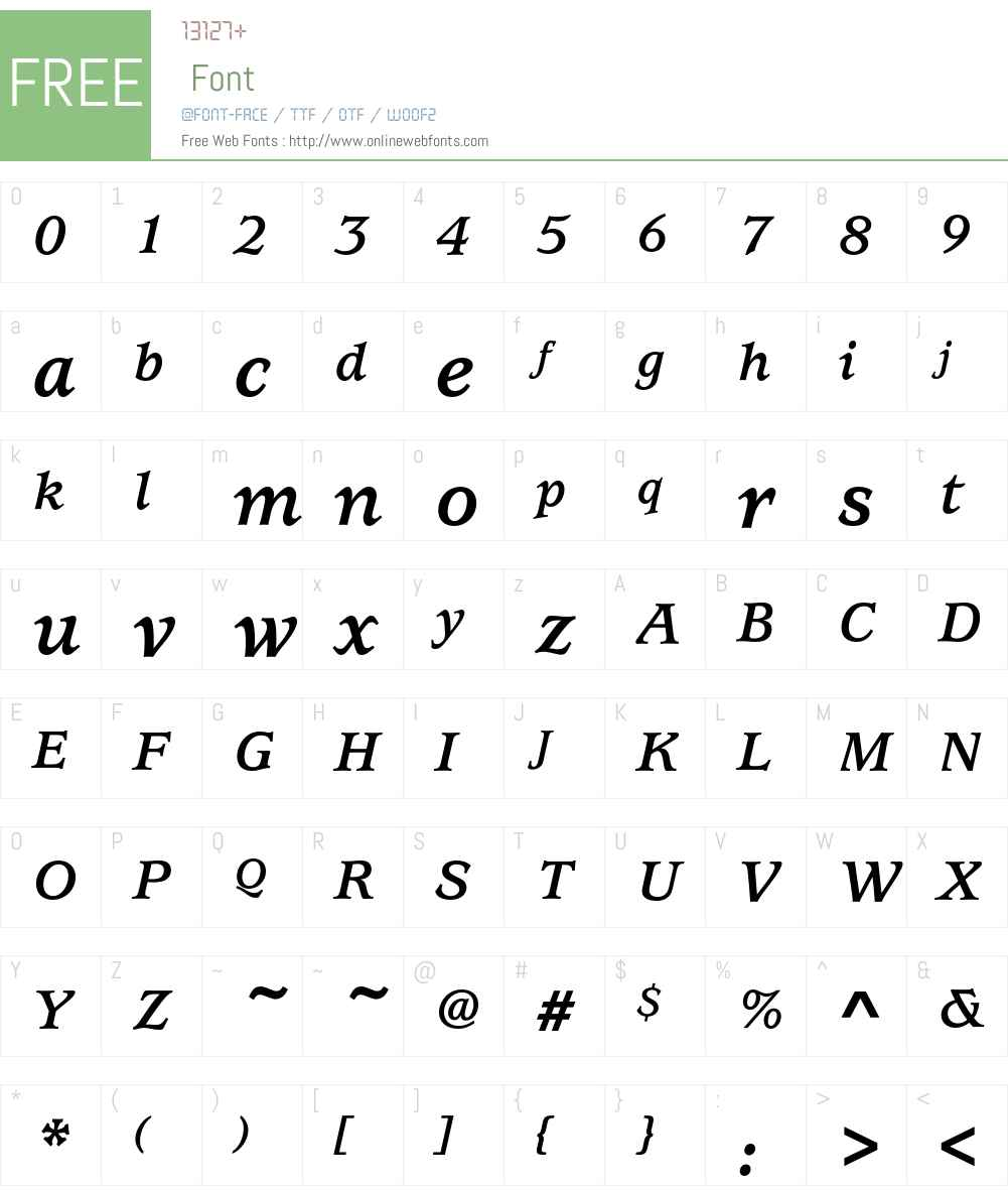 UsherwoodEF-BoldItalic Font Screenshots