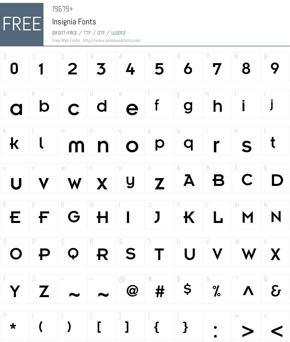 Insignia Font Screenshots