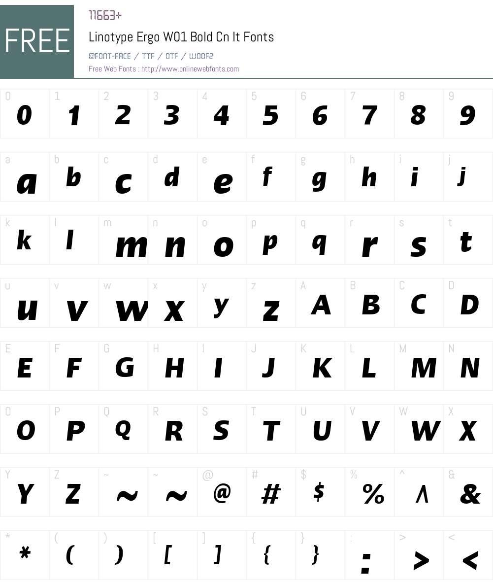 LinotypeErgoW01-BoldCnIt Font Screenshots
