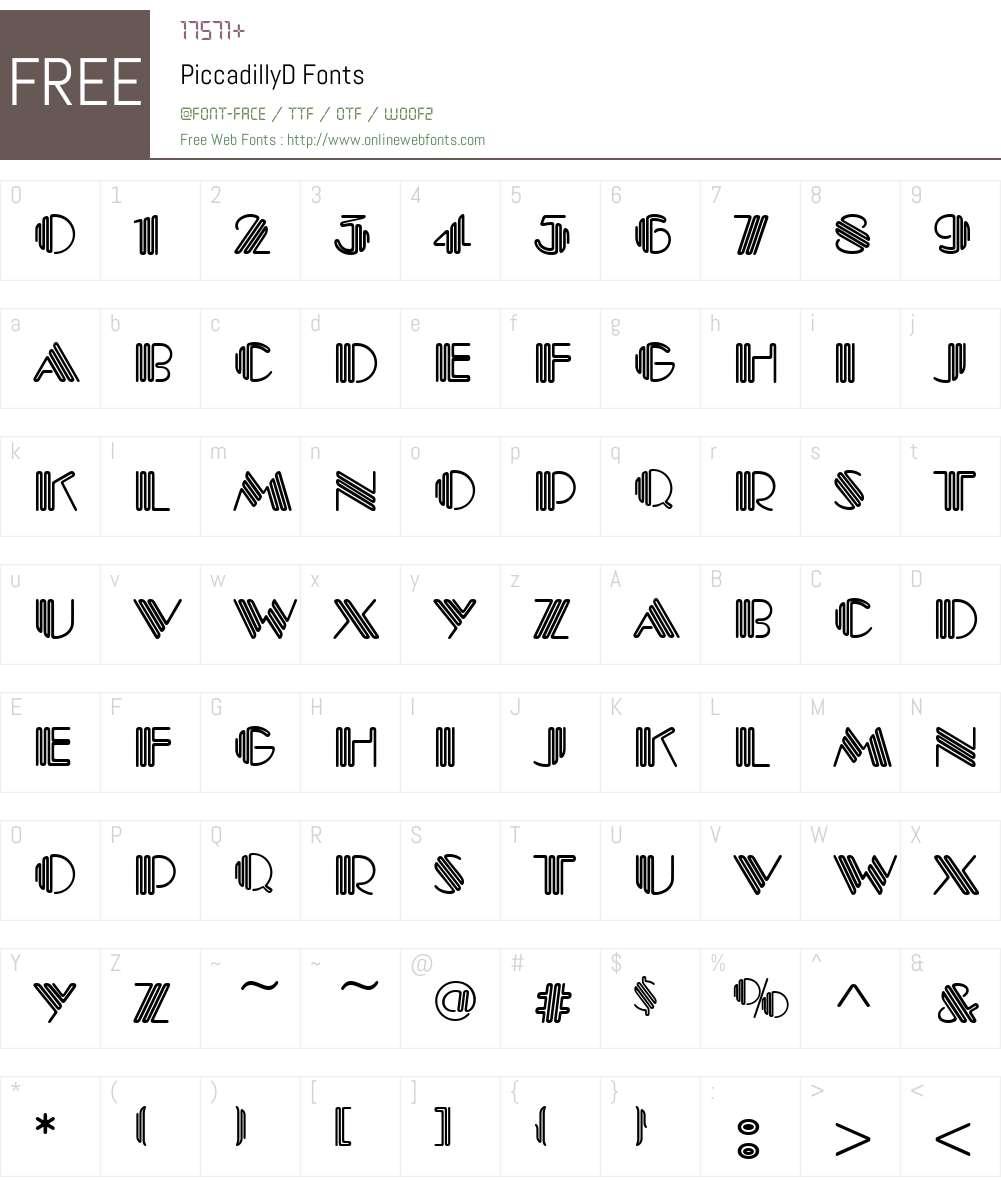 PiccadillyD Font Screenshots