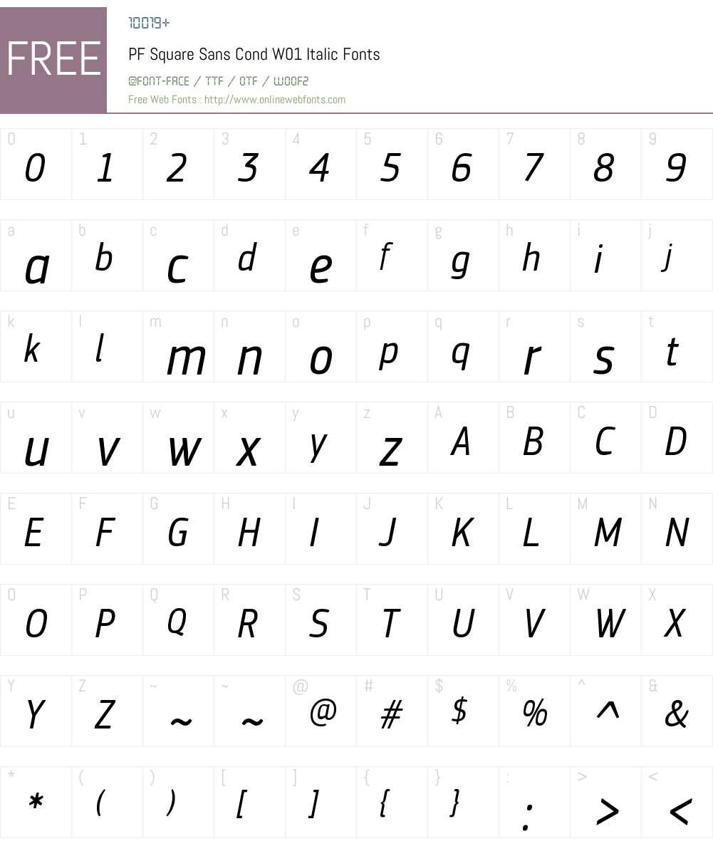 PFSquareSansCondW01-Italic Font Screenshots