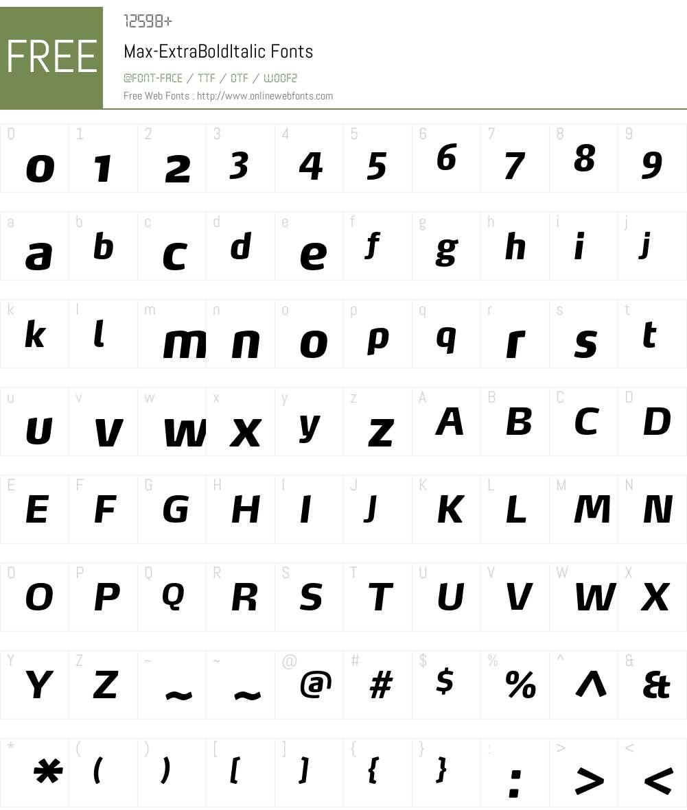 Max-ExtraBoldItalic Font Screenshots