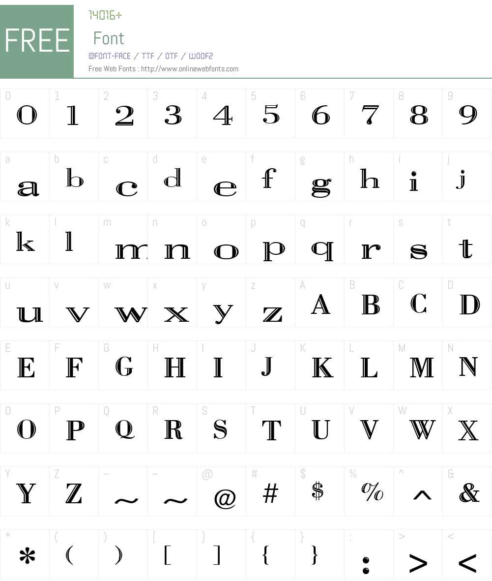 Vangard Font Screenshots