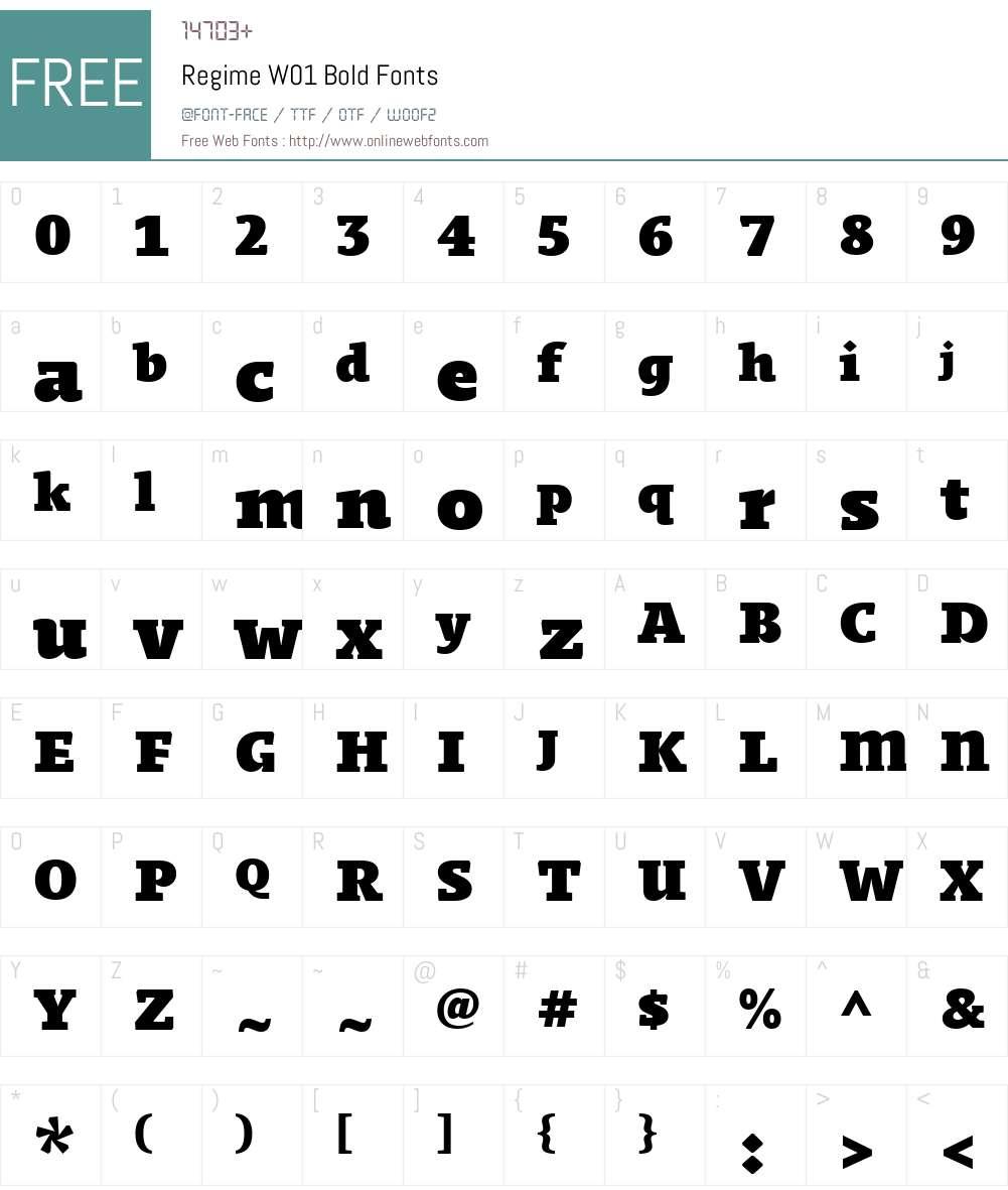 RegimeW01-Bold Font Screenshots