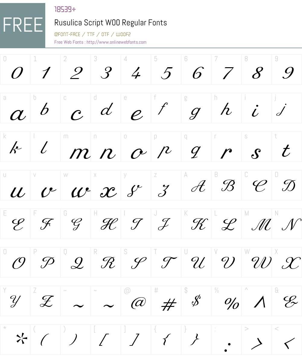 RusulicaScriptW00-Regular Font Screenshots