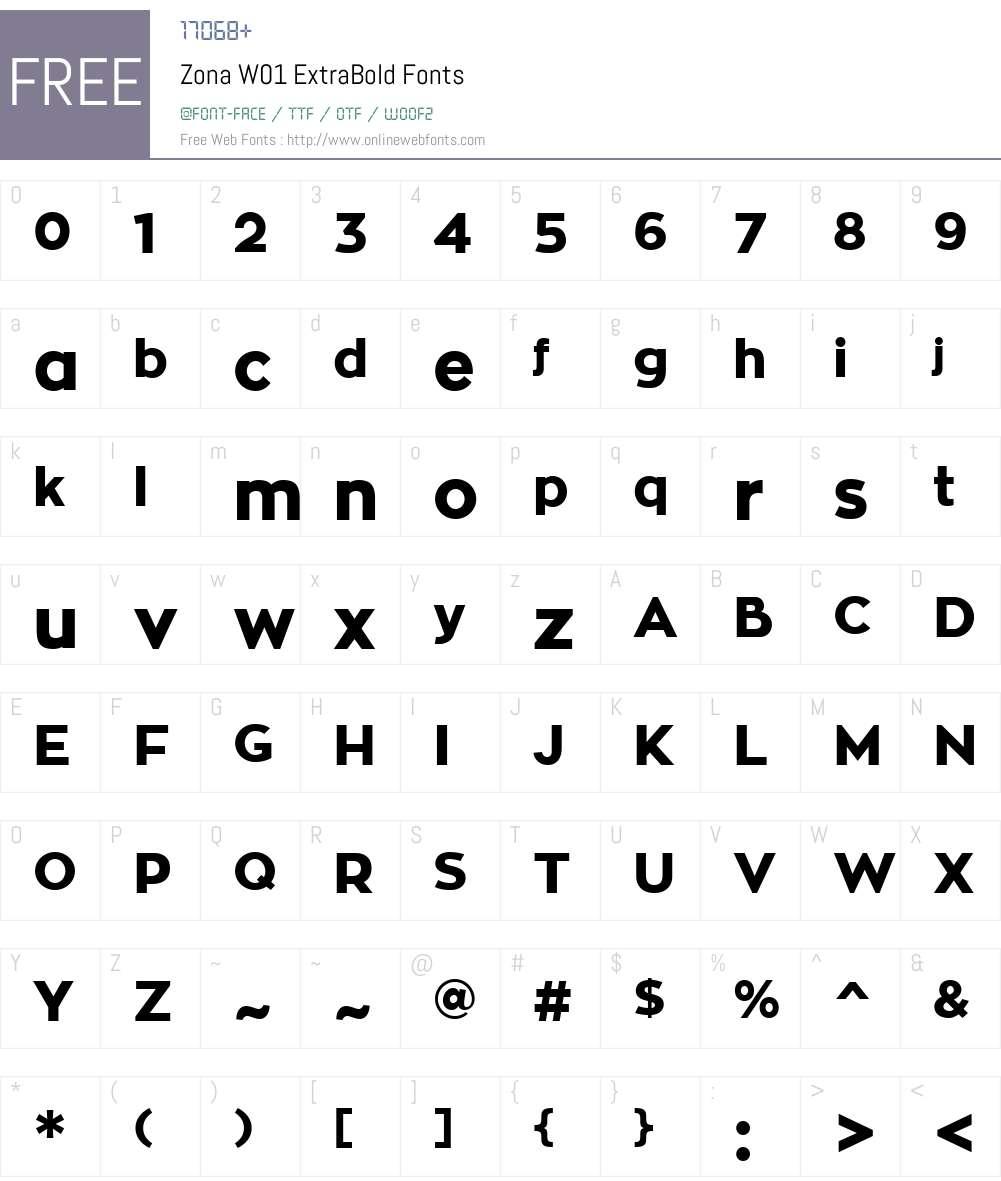ZonaW01-ExtraBold Font Screenshots