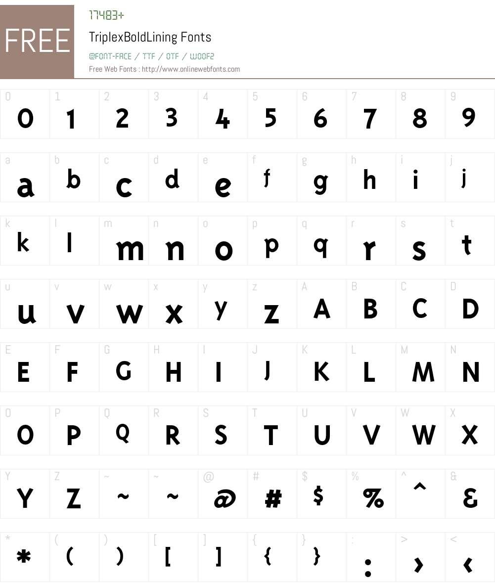 TriplexBoldLining Font Screenshots