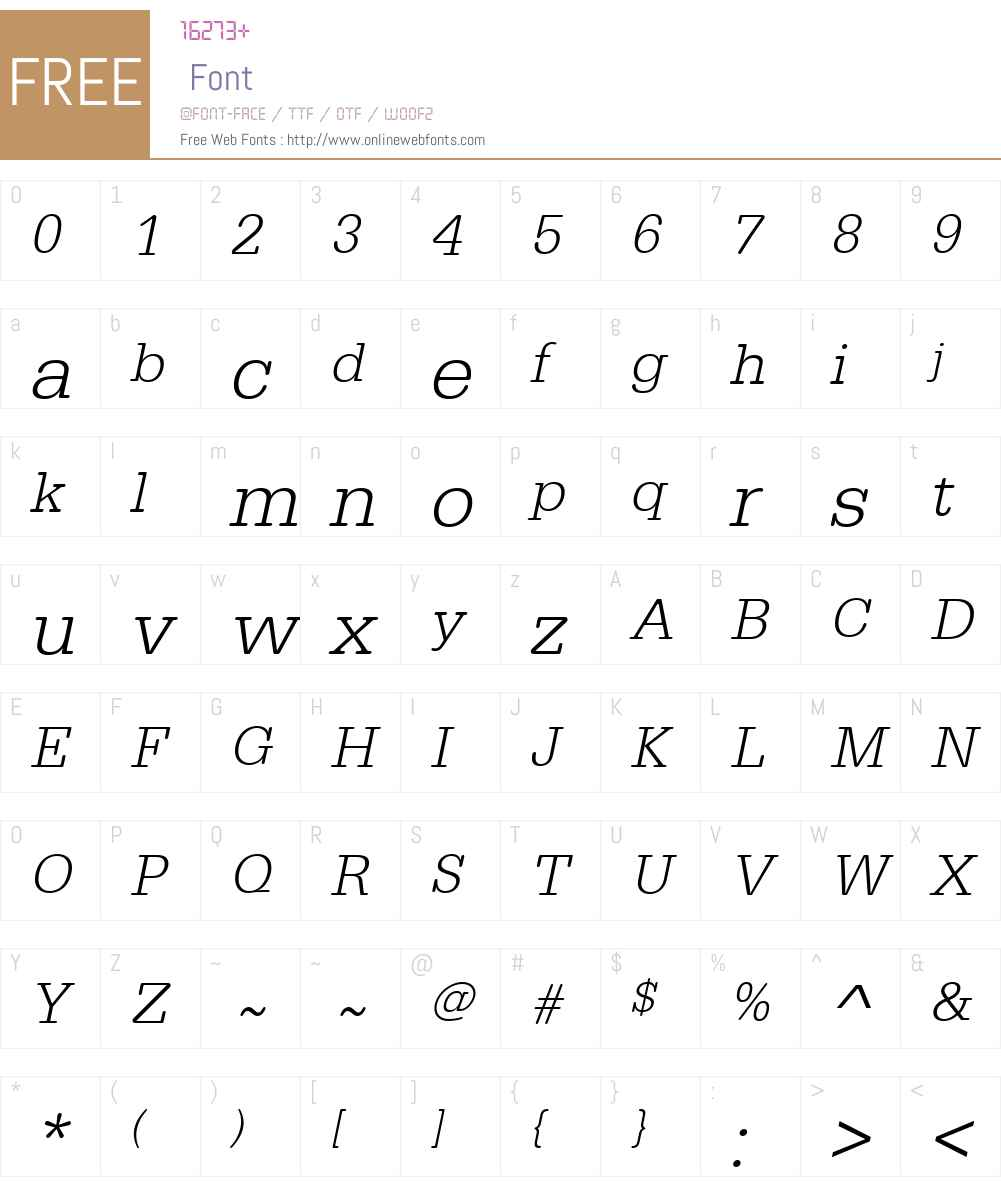 URWTypewriterW01-LightObl Font Screenshots