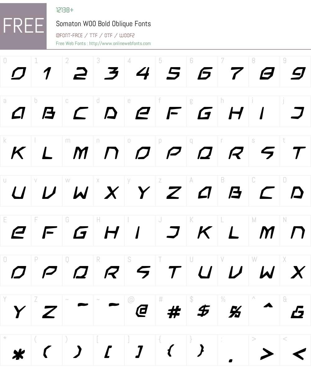 SomatonW00-BoldOblique Font Screenshots