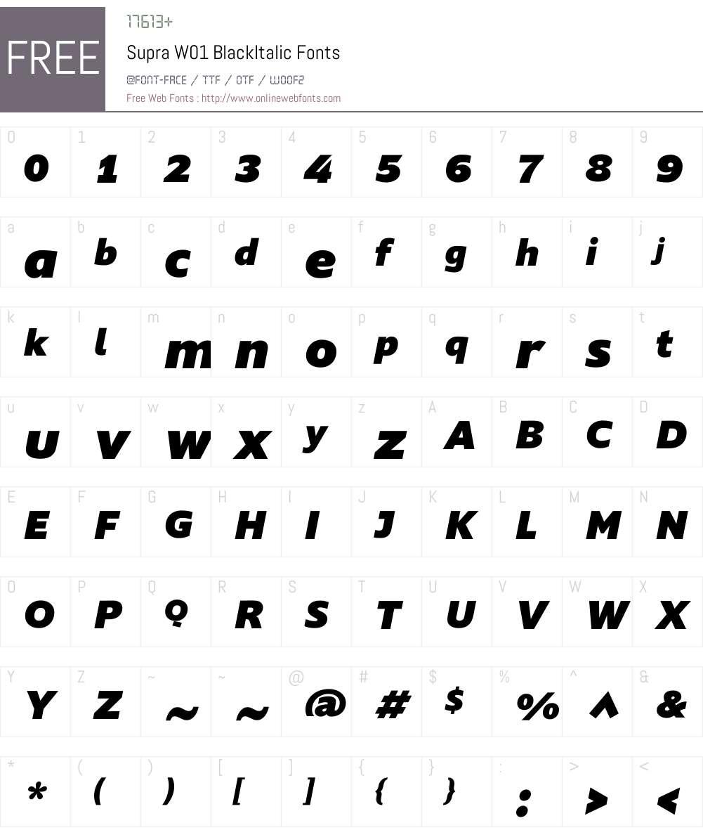 SupraW01-BlackItalic Font Screenshots