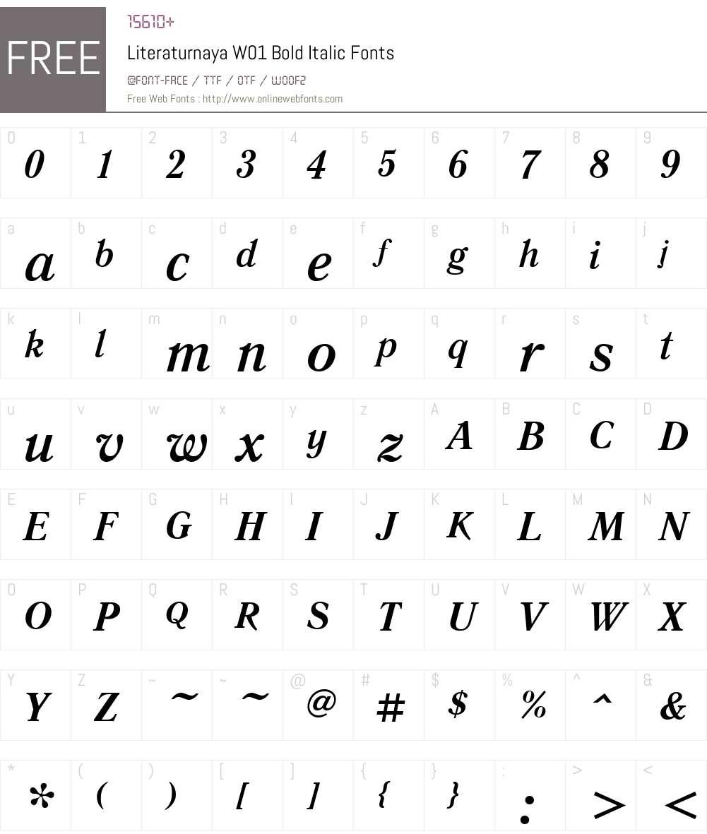 LiteraturnayaW01-BoldItalic Font Screenshots