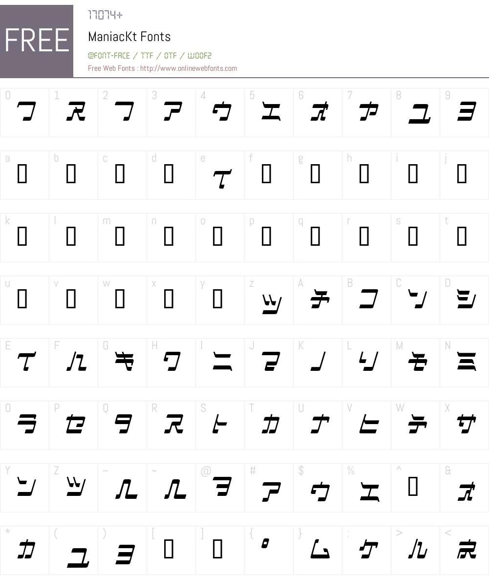 ManiacKt Font Screenshots