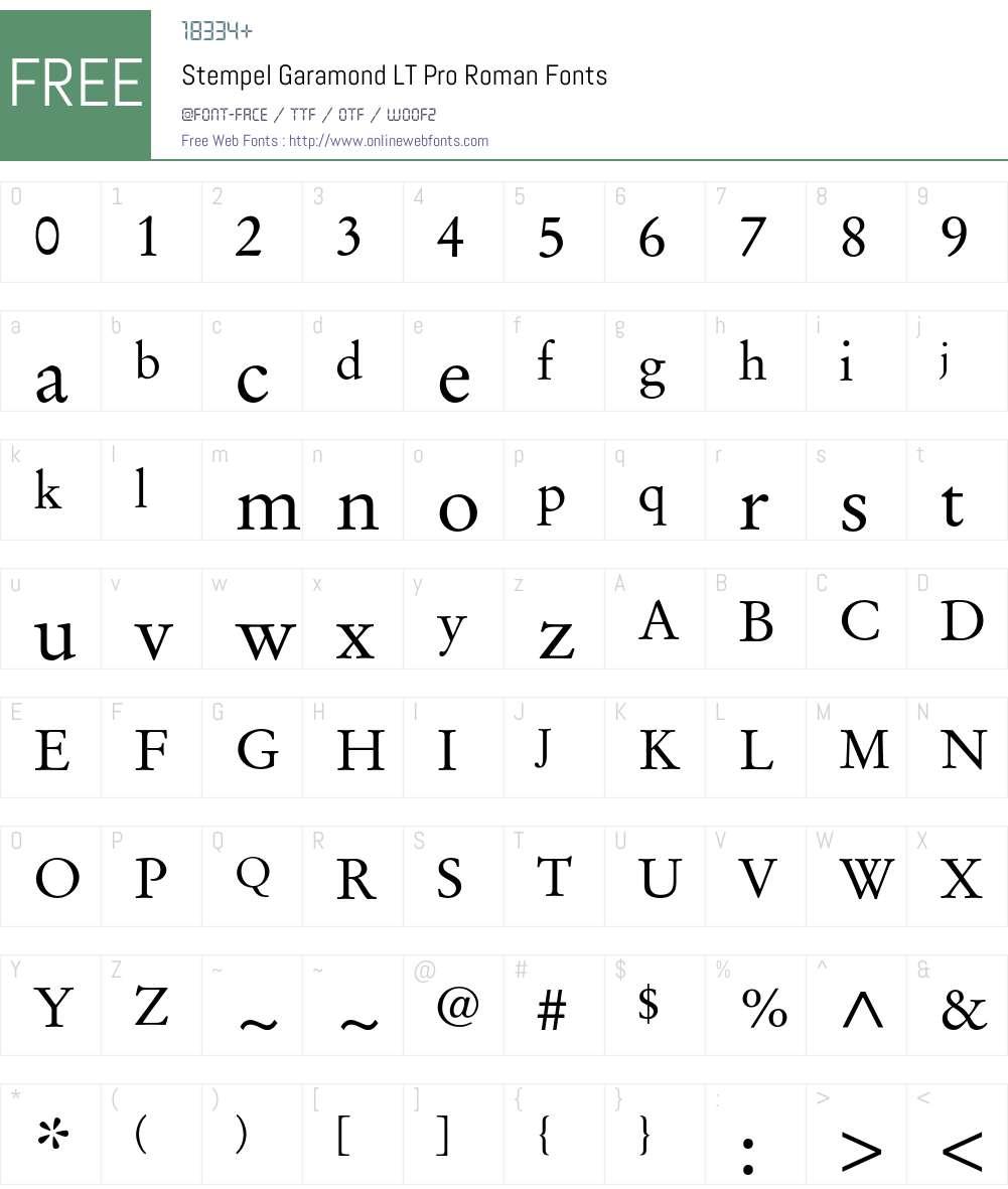 Stempel Garamond LT Pro Font Screenshots