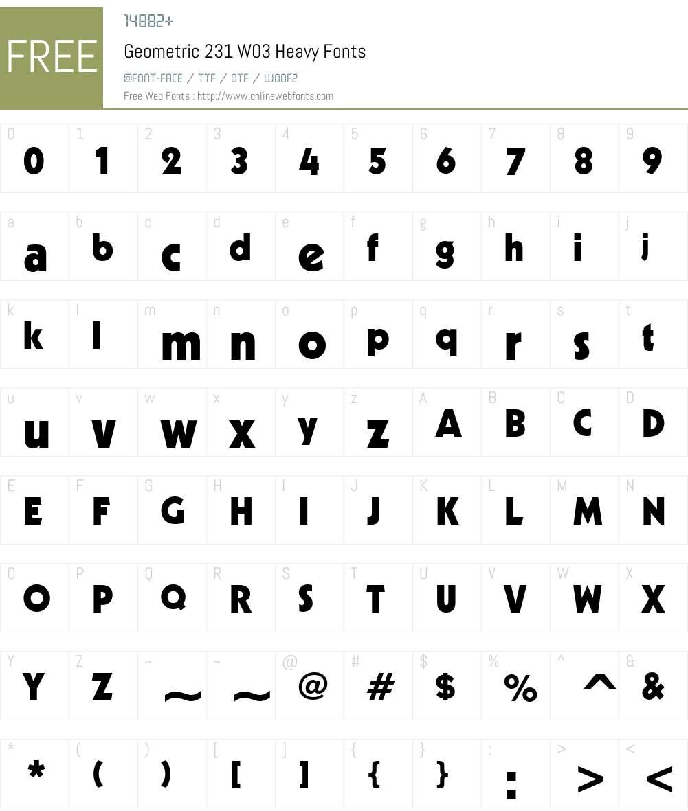 Geometric 231 Font Screenshots