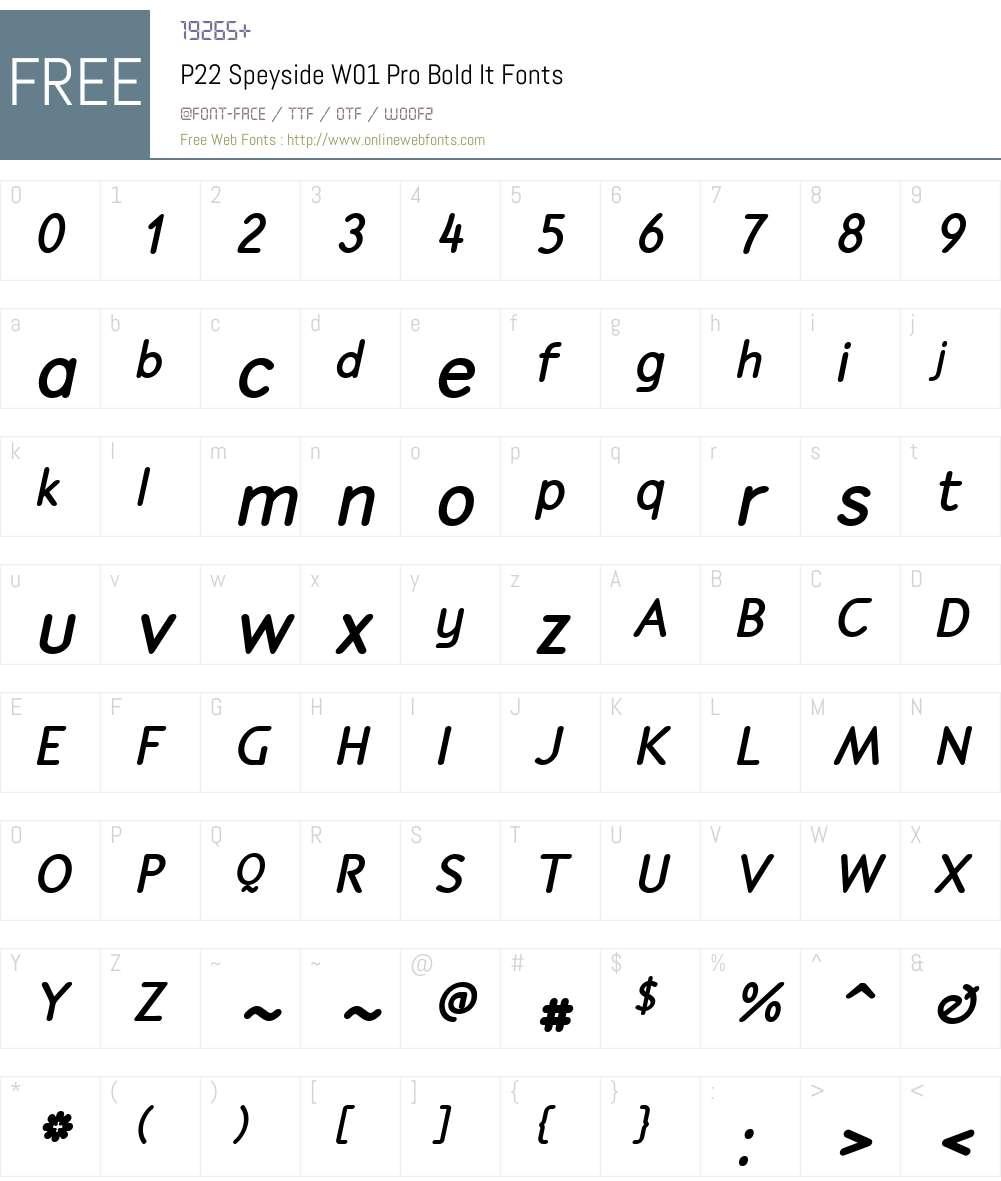 P22SpeysideW01-ProBoldIt Font Screenshots