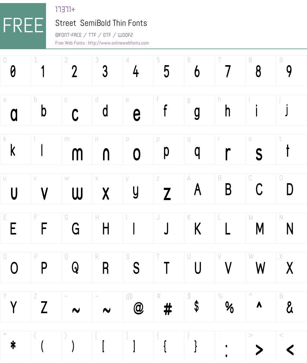 Street  SemiBold Thin Font Screenshots