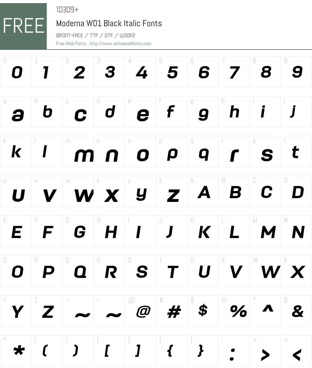 ModernaW01-BlackItalic Font Screenshots