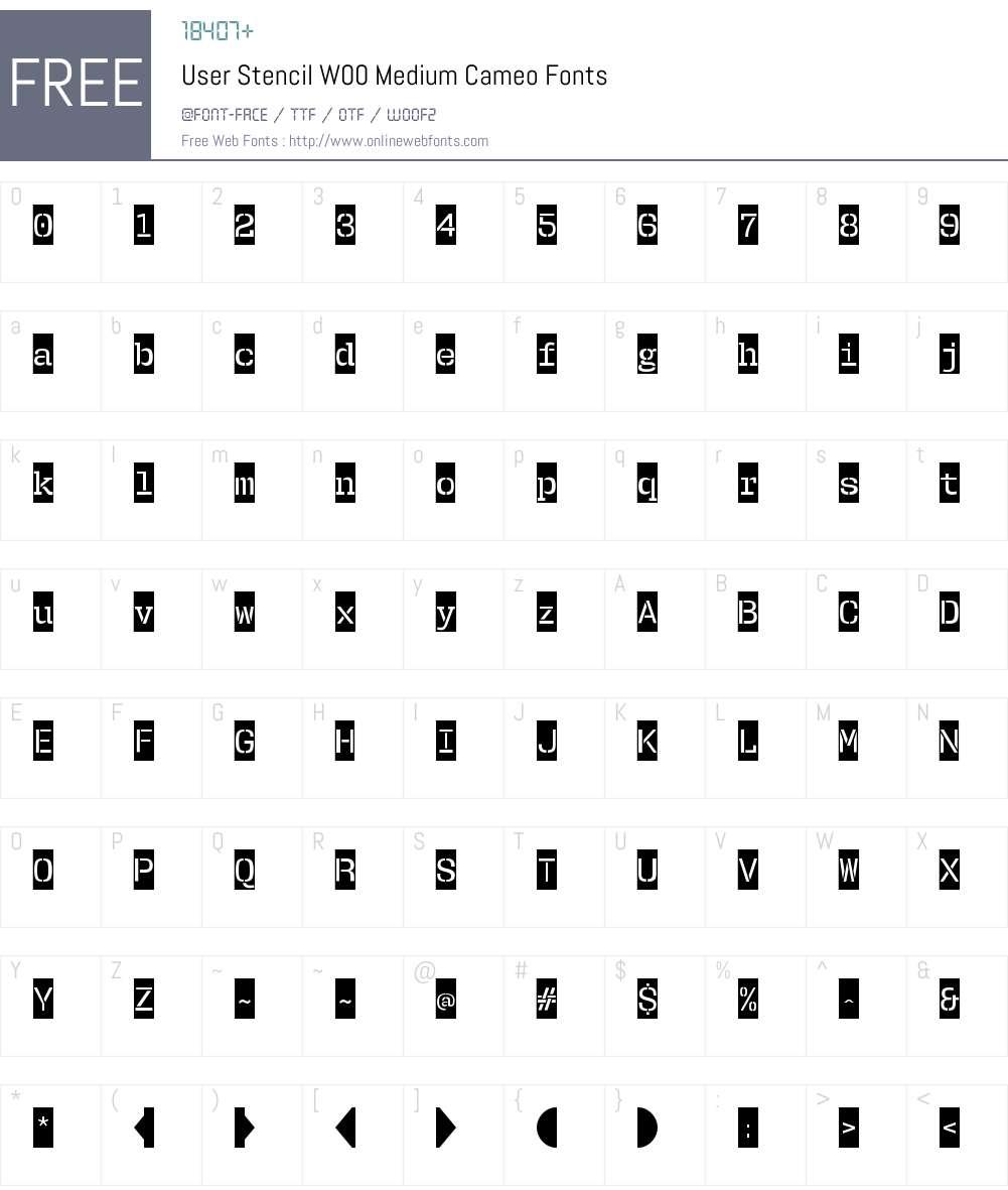 UserStencilW00-MediumCameo Font Screenshots