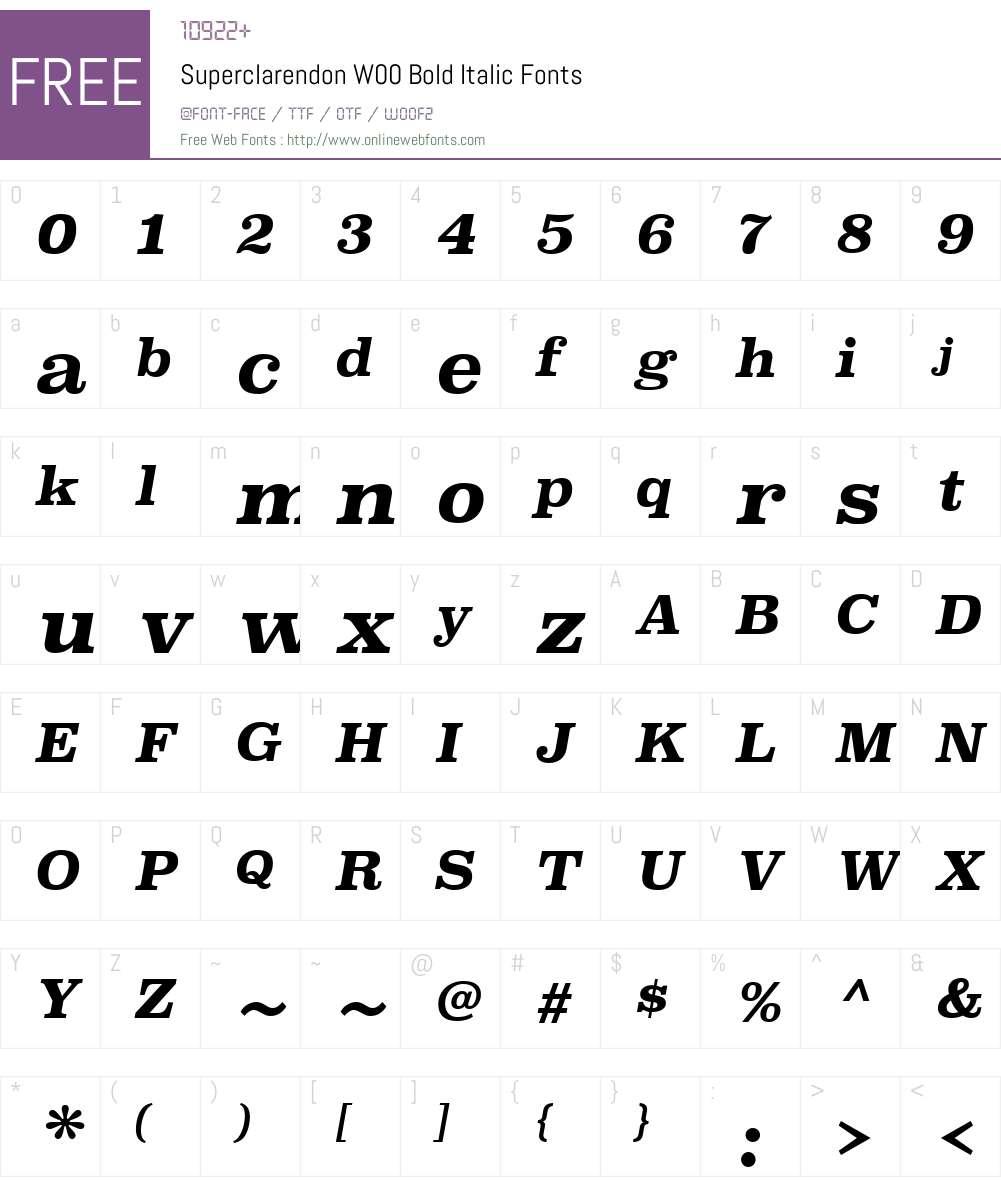 SuperclarendonW00-BoldIt Font Screenshots